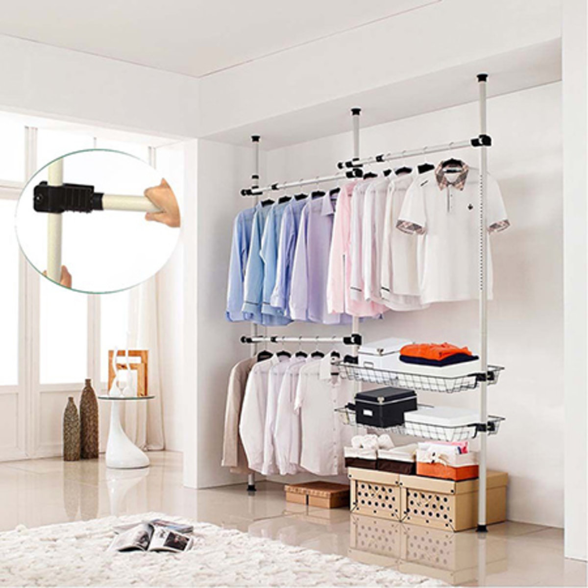 Floor To Ceiling 3 Poles Multi Function Clothes Rack With Basket White