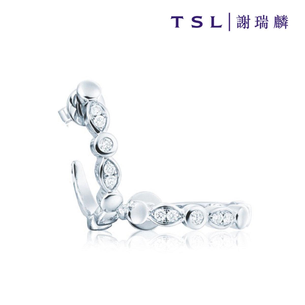 [指語 - 經典系列] 750/18K白色黃金鑲天然鑽石耳環