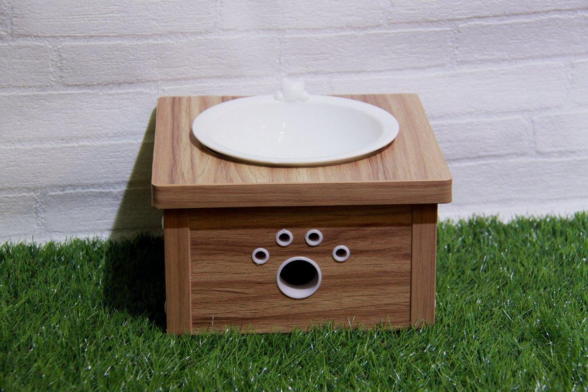 胡桃木色木制貓餐桌 (單碗)