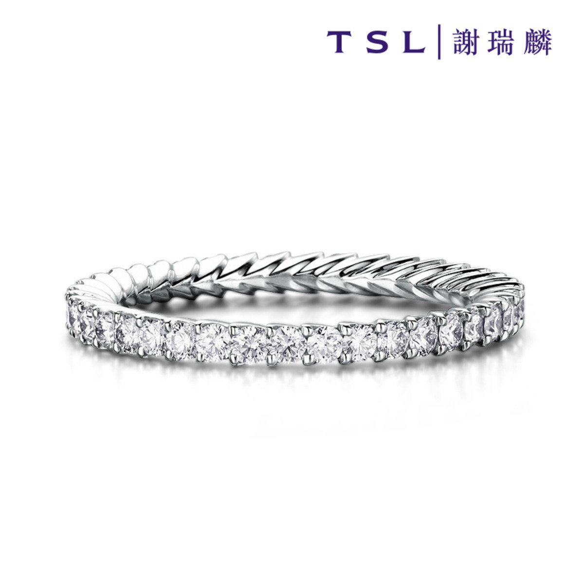 [指語 - 疊邊鑲系列] 750/18K白色黃金鑲天然鑽石戒指