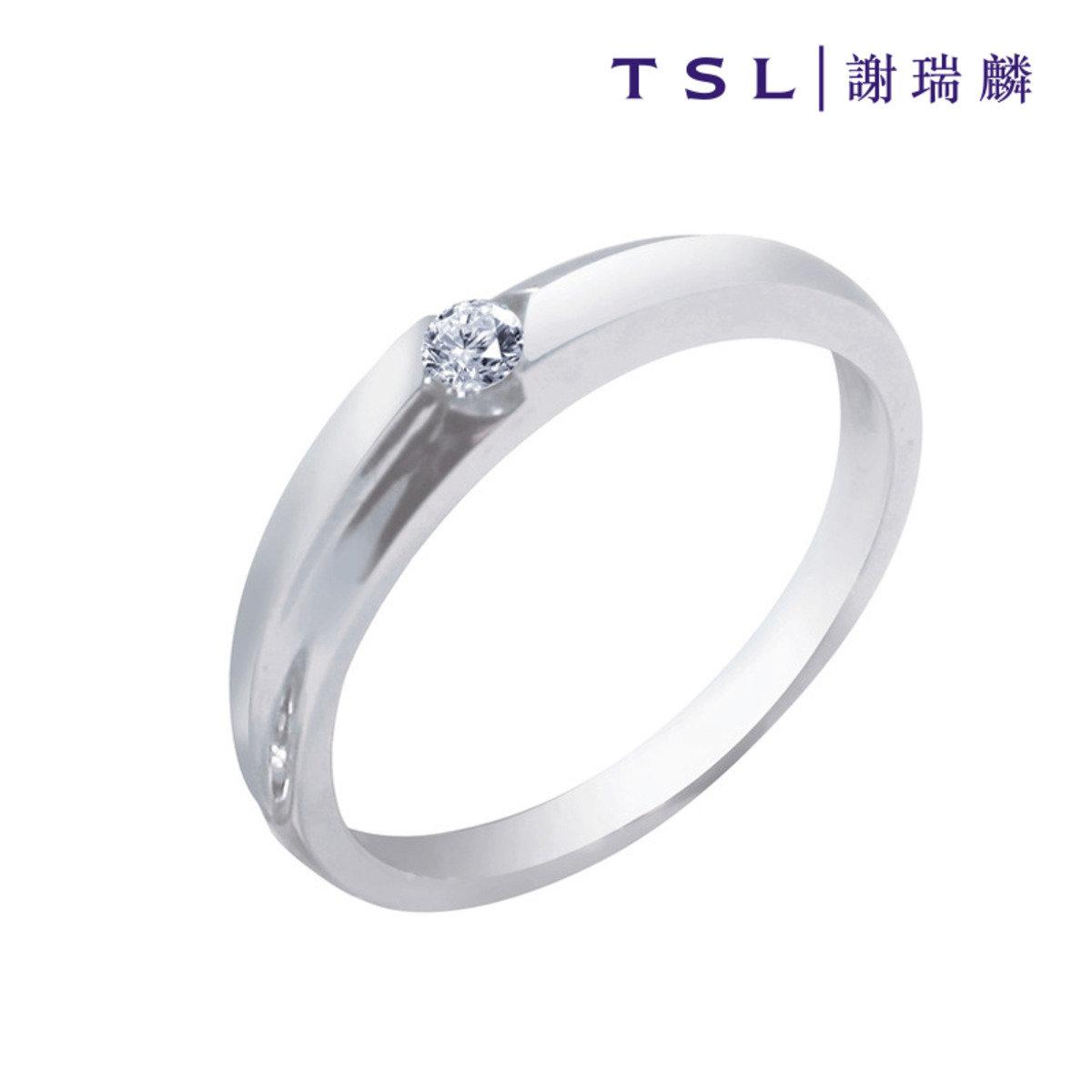 750/18K白色黃金鑲天然鑽石戒指