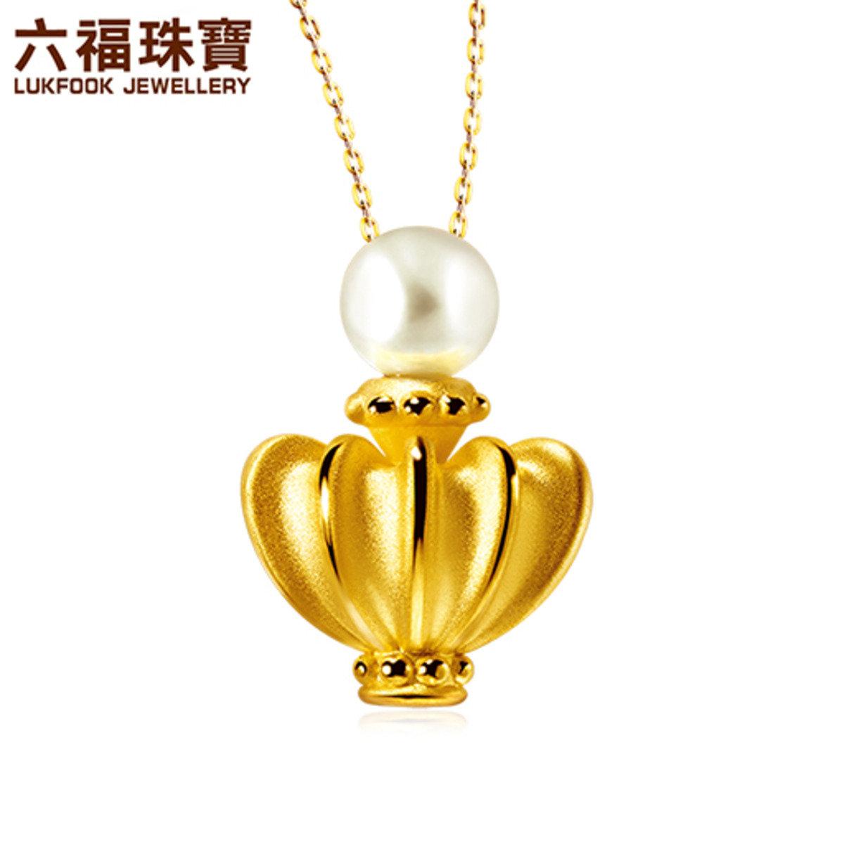 媽媽最美 女裝 足金硬金襯養殖淡水珍珠吊墜