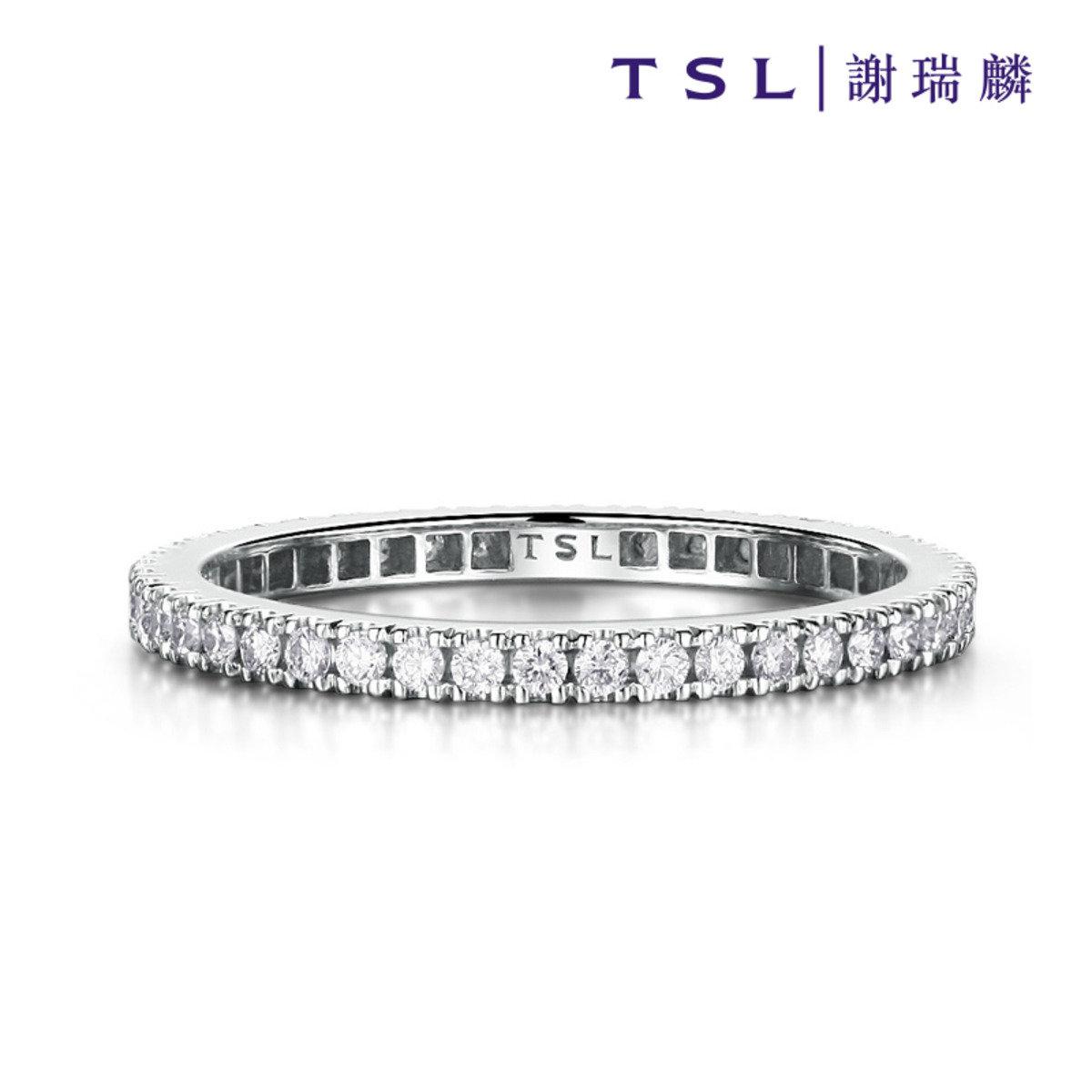 [指語 - 簡約線條系列] 750/18K白色黃金鑲天然鑽石戒指