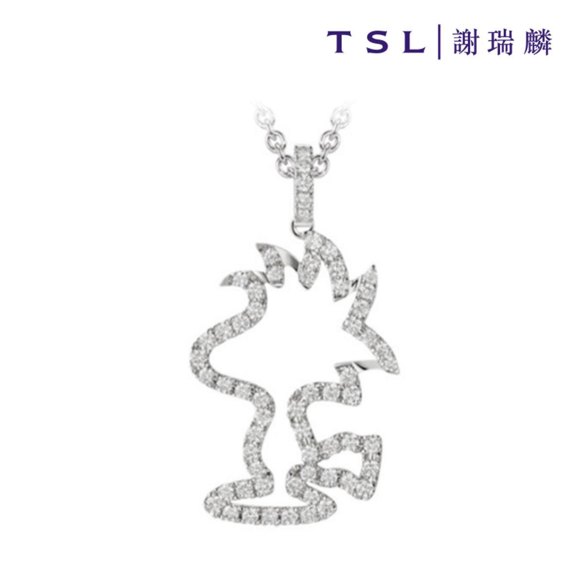 史努比750/18K白色黃金鑲天然鑽石吊咀