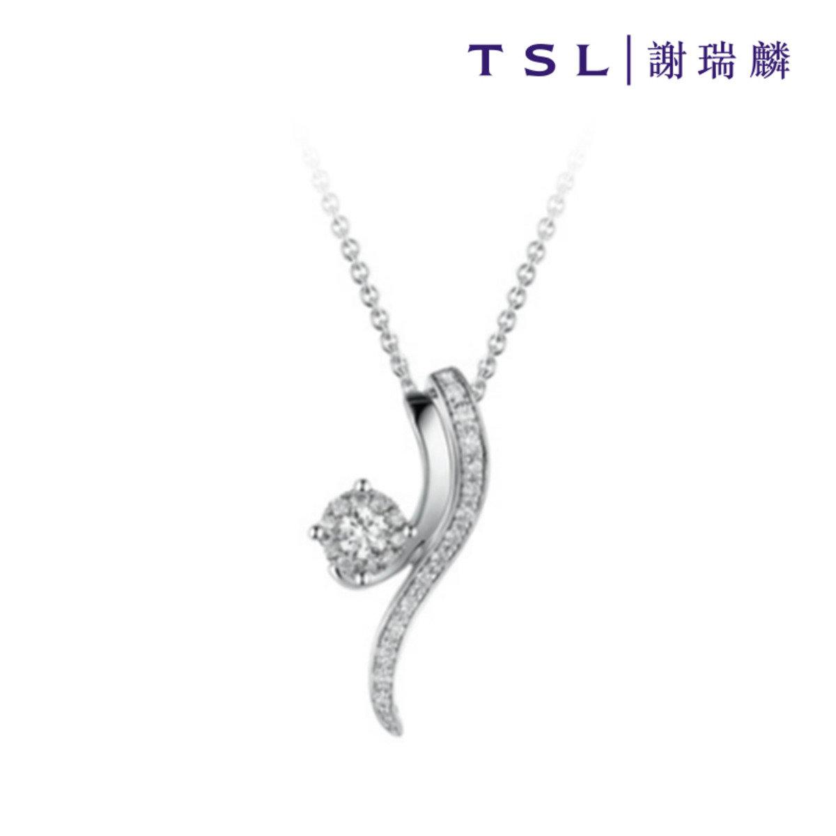 750/18K白色黃金鑲天然鑽石吊咀