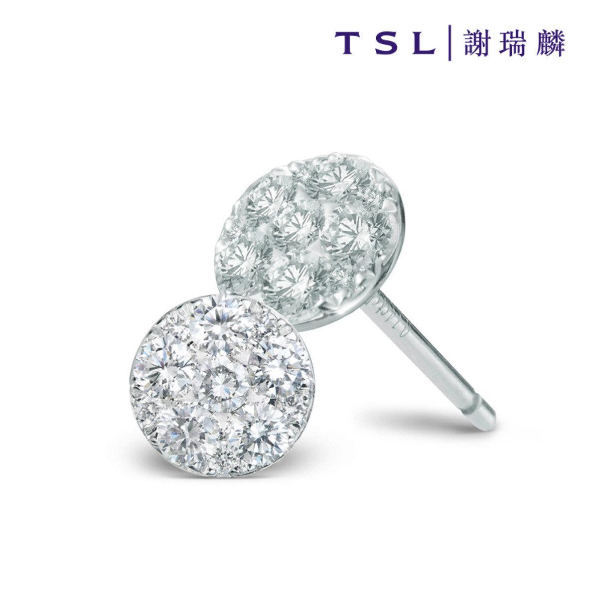750/18K白色黃金鑲天然鑽石耳環