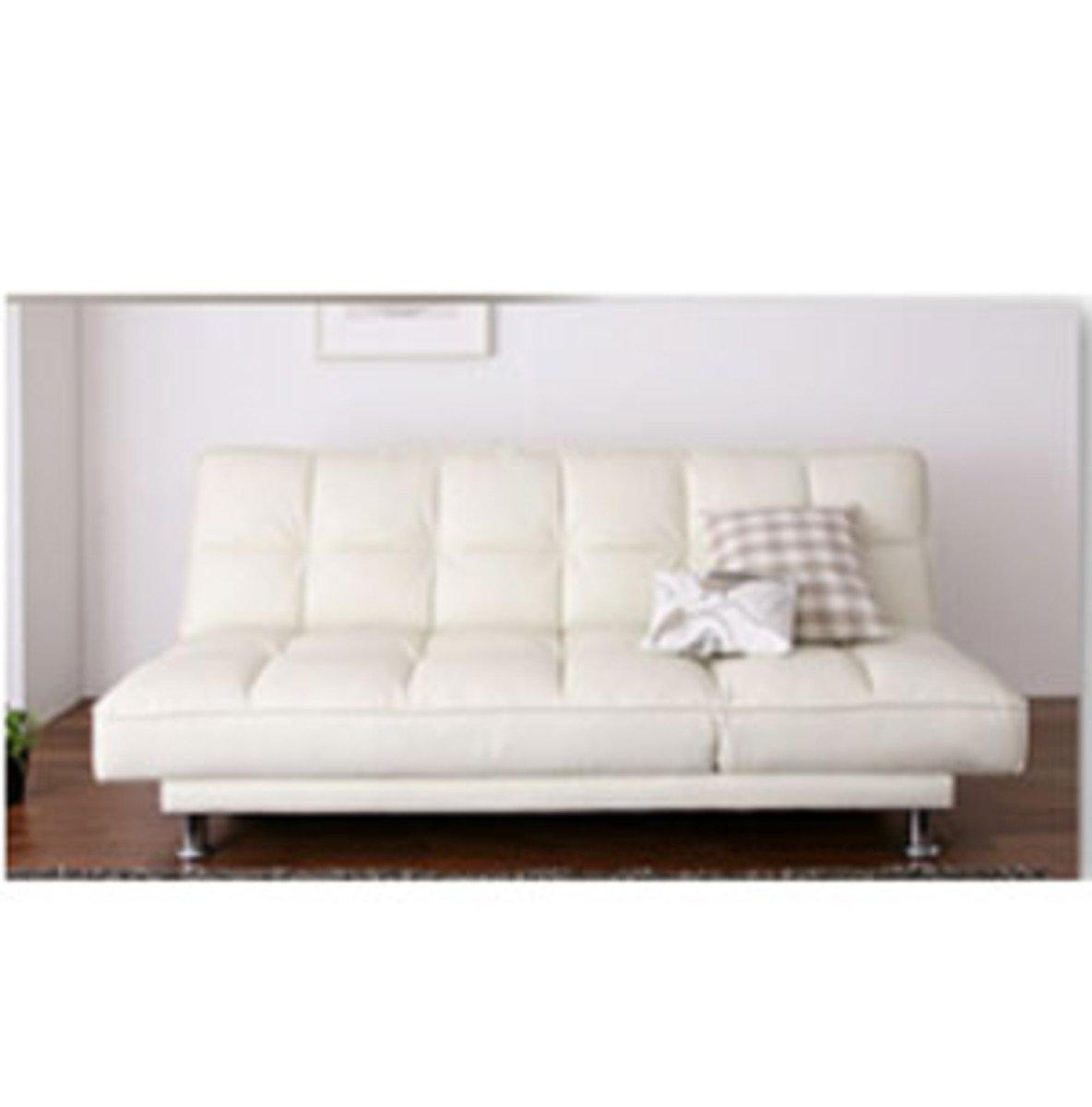日式折疊仿皮梳化床(白色)