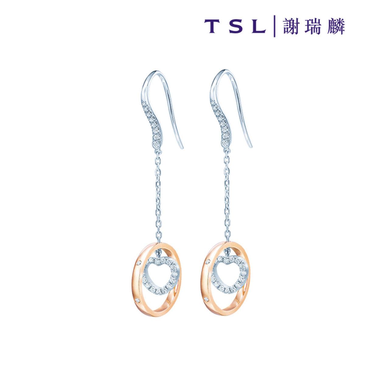 750/18K紅白色黃金鑲天然鑽石耳環