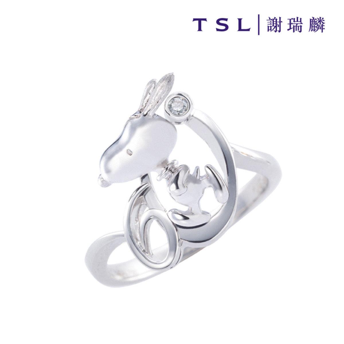 史努比750/18K白色黃金鑲天然鑽石戒指