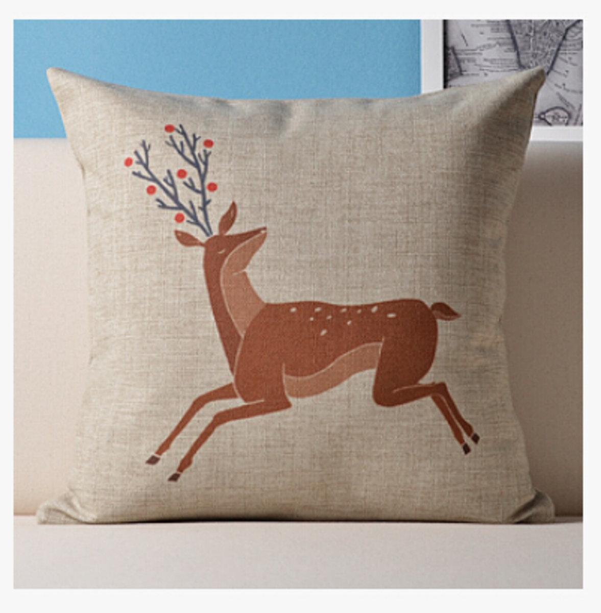 麋鹿麻棉抱枕 - D款(梅花鹿)