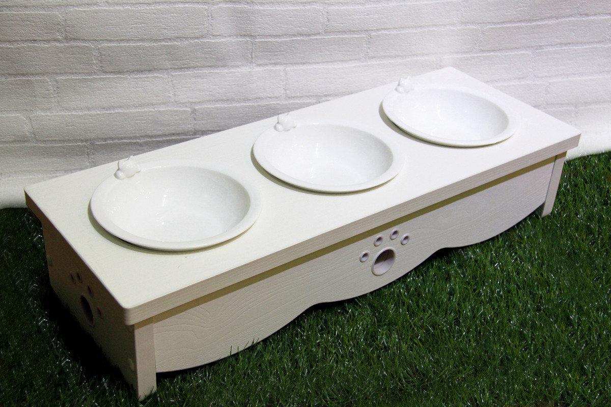 白浮雕木制貓餐桌 (三碗)