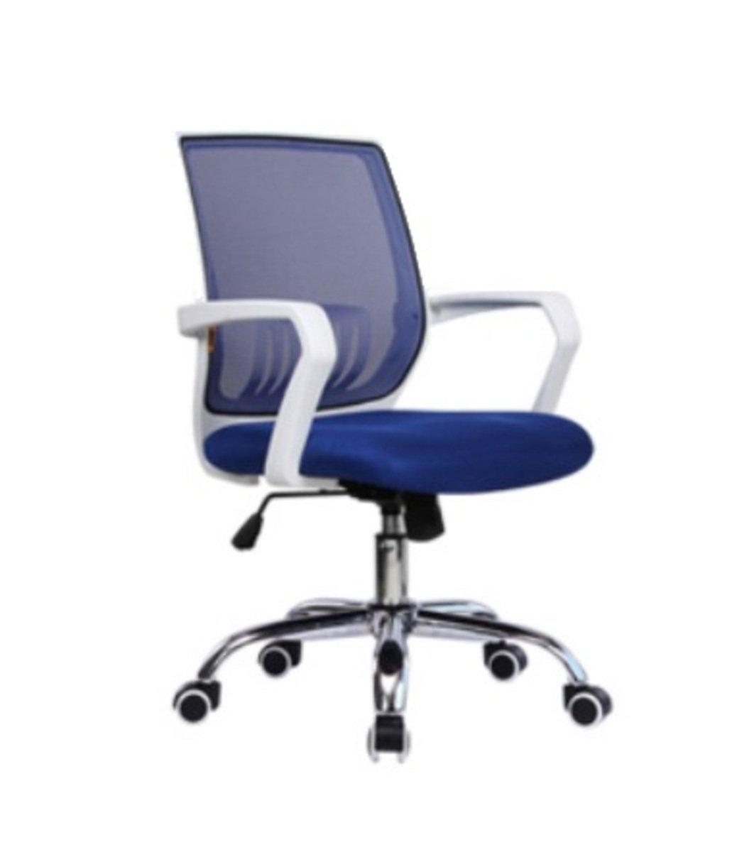 人體工學辦公椅-白框(寶藍色)