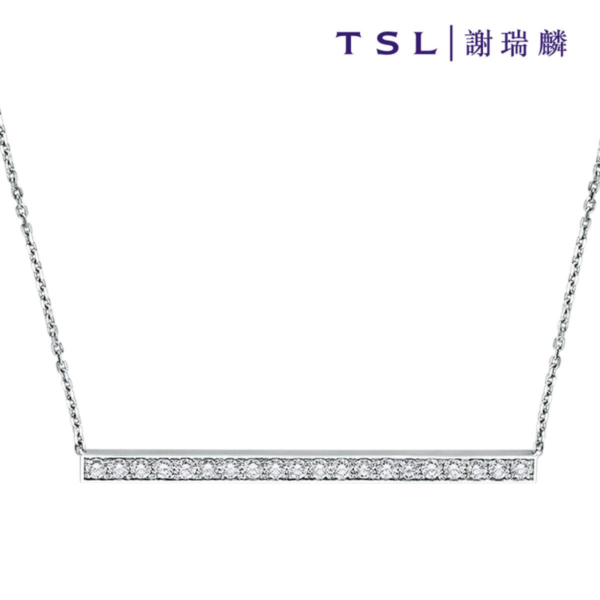 [指語 - 簡約線條系列] 750/18K白色黃金鑲天然鑽石頸鍊