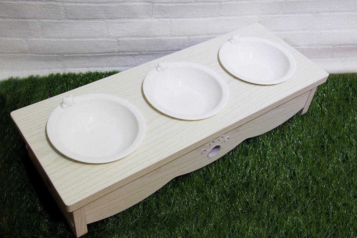 白木紋木制貓餐桌 (三碗)