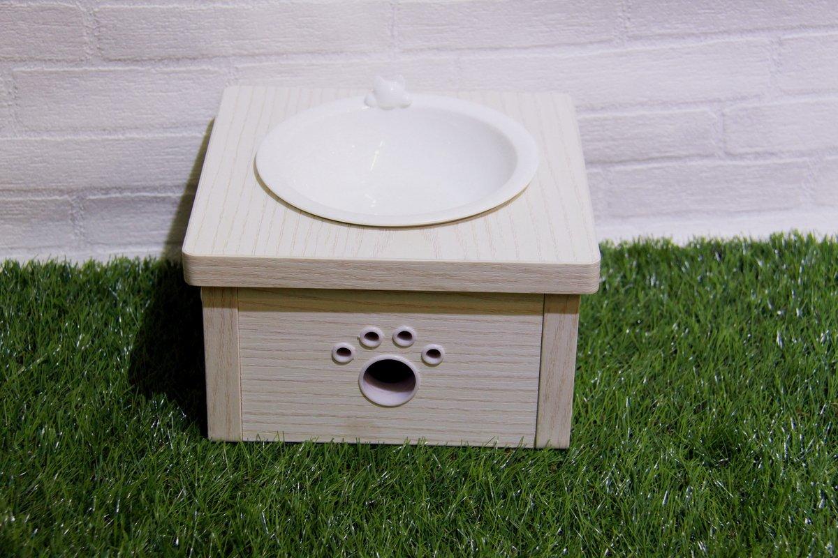 白木紋木制貓餐桌 (單碗)