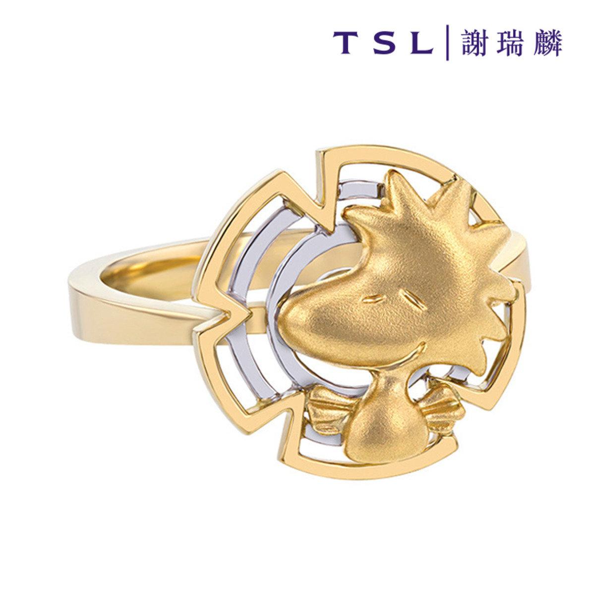 史努比750/18K黃白色黃金戒指