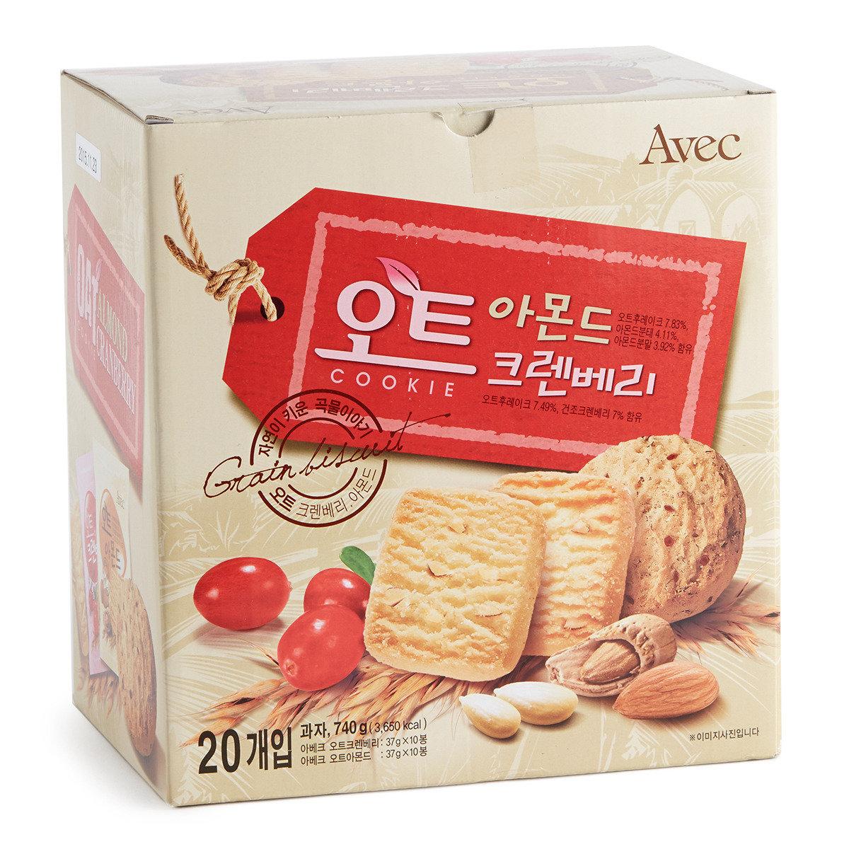 韓國盒裝燕麥曲奇(燕麥杏仁+燕麥紅莓) (賞味期限:09/11/2016)