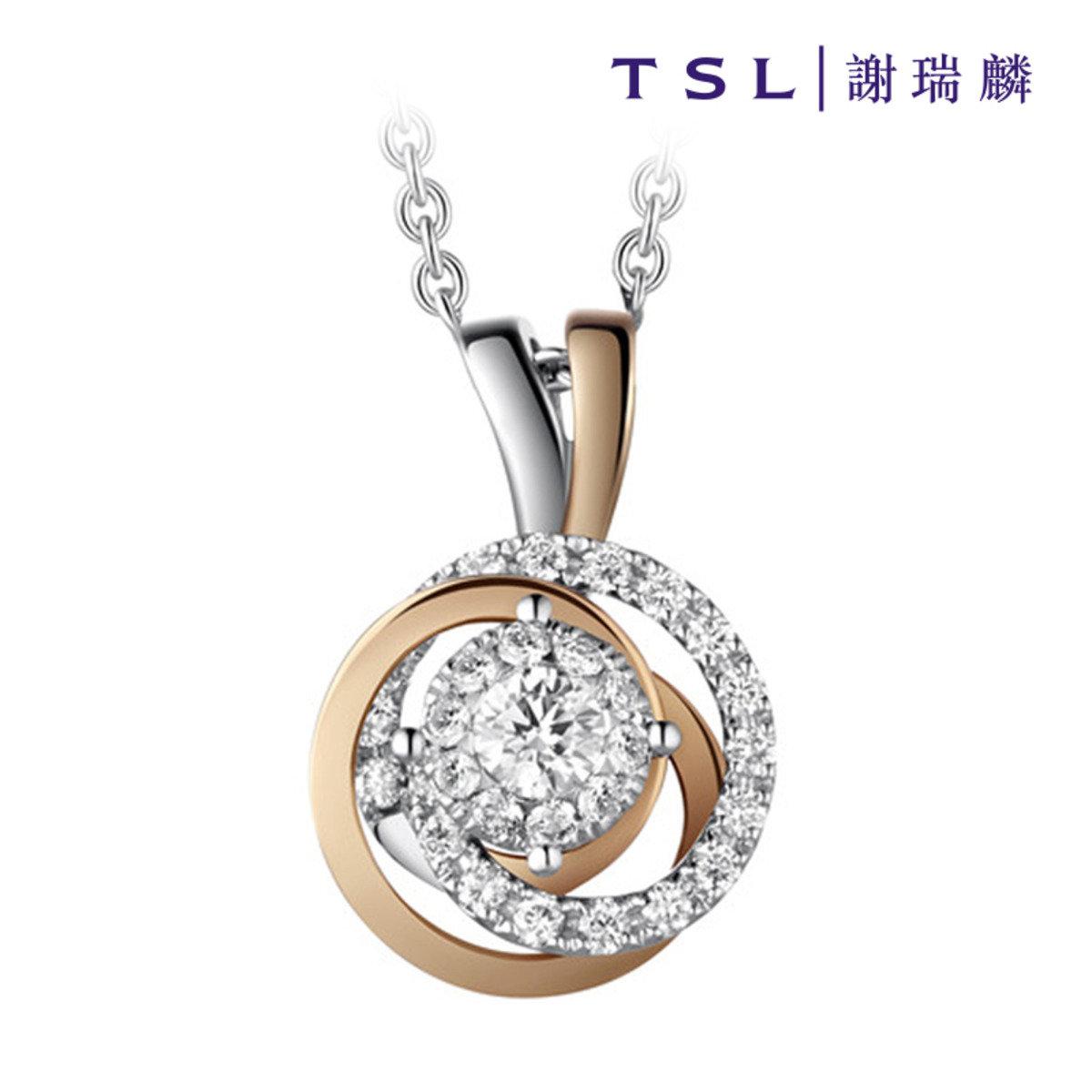 750/18K金鑲天然鑽石頸鍊