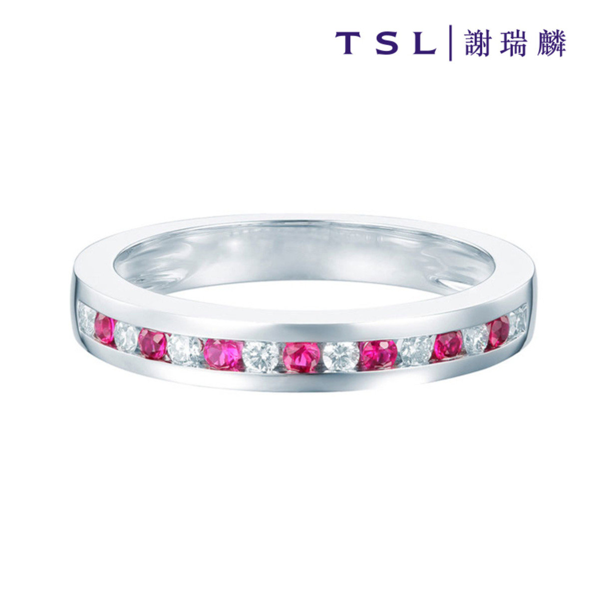 [指語 - 簡約線條系列] 750/18K白色黃金鑲紅寶石戒指