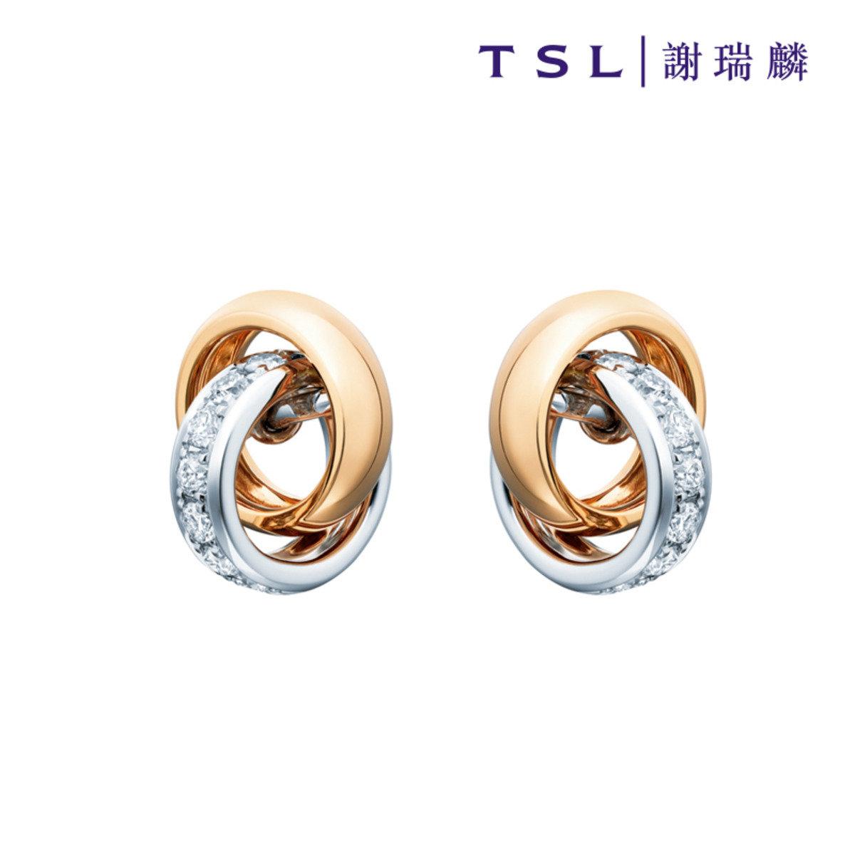 750/18K金鑲天然鑽石耳環