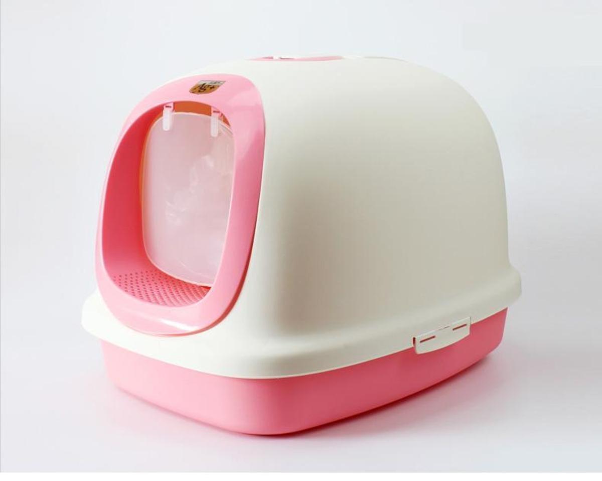 特大豪華有蓋貓廁所(粉紅色)