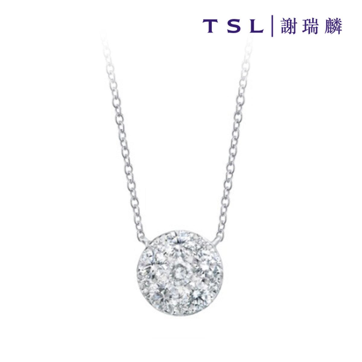 750/18K白色黃金鑲天然鑽石頸鍊