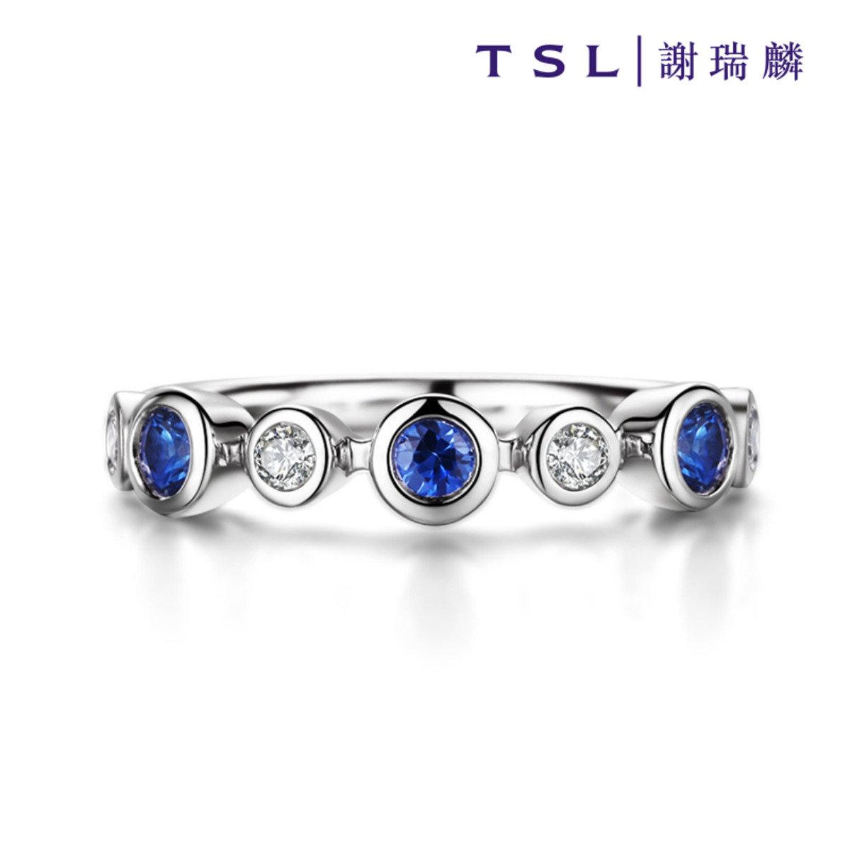 [指語 - 經典系列] 750/18K白色黃金鑲藍寶石戒指