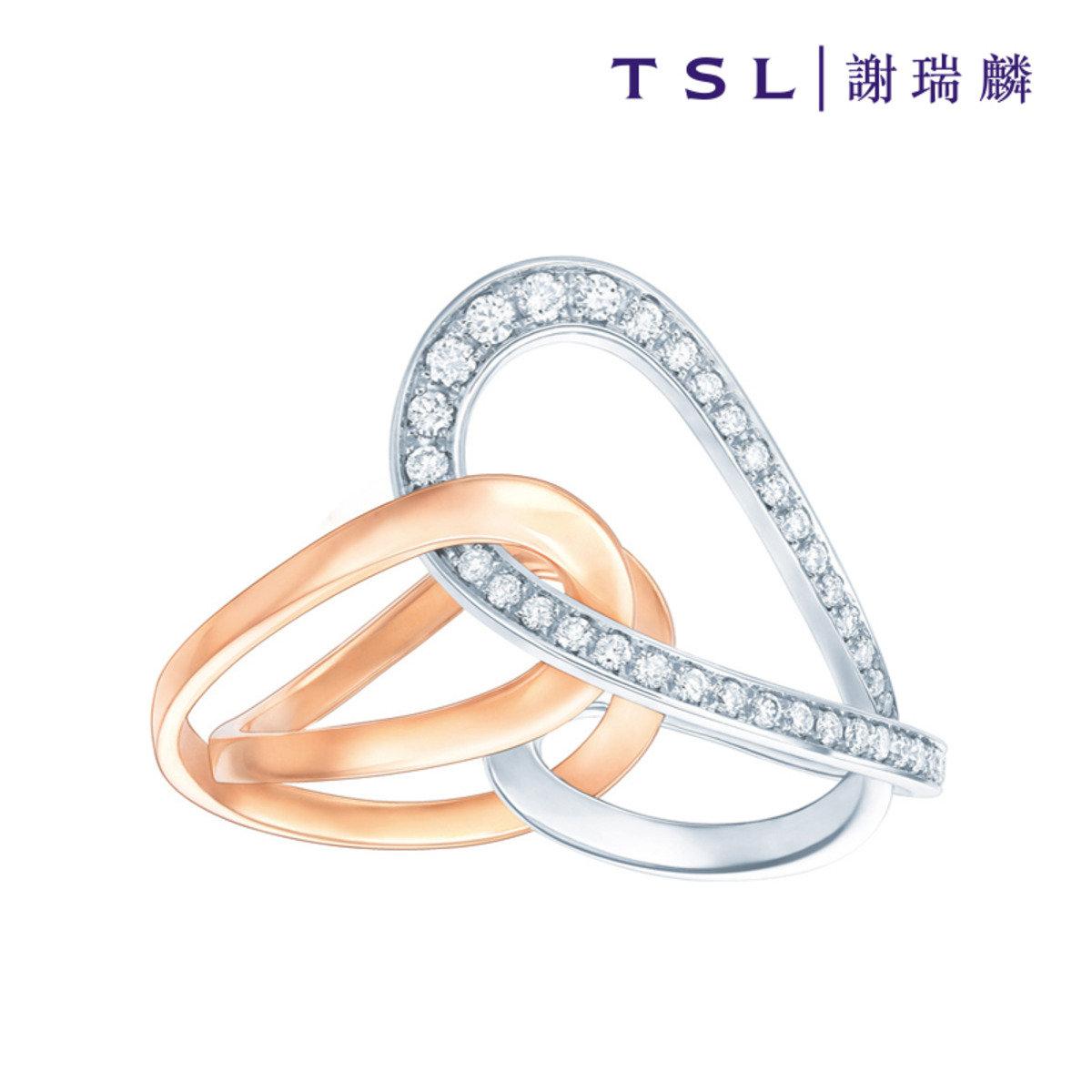 750/18K金鑲天然鑽石戒指
