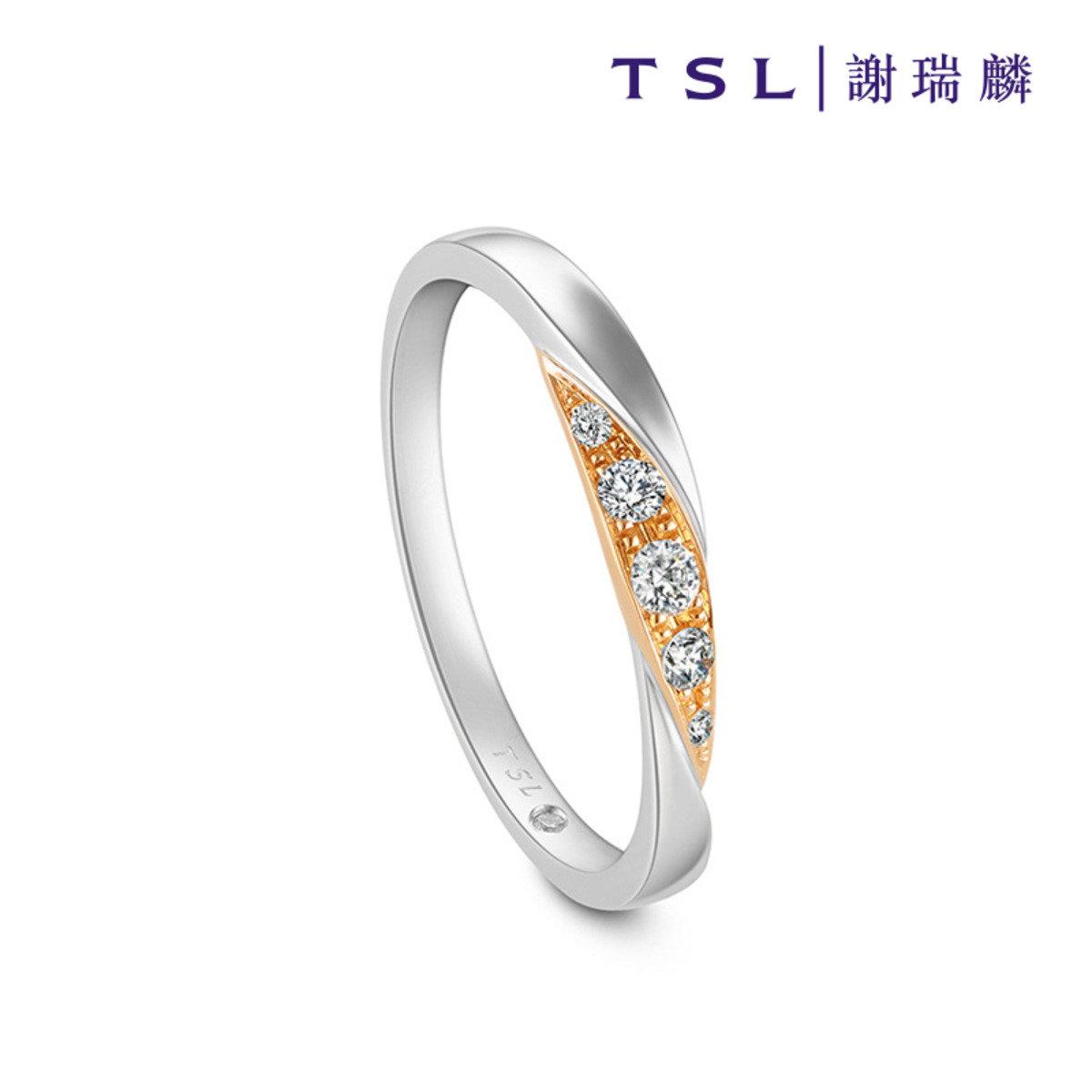 750/18K紅白色黃金鑲天然鑽石戒指