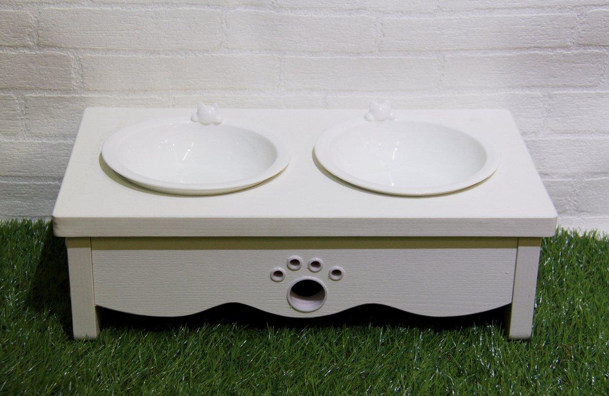 白浮雕木制貓餐桌 (雙碗)