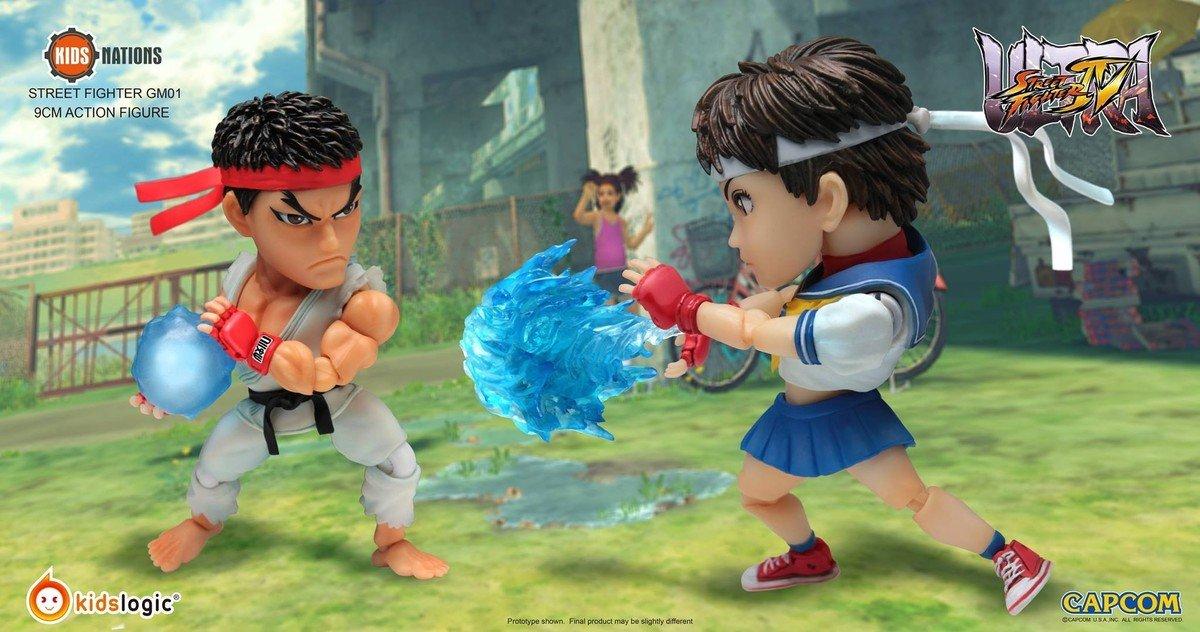 可愛Q 版 街頭霸王  IV GM-01  Ryu vs Sakura, (一套2件)