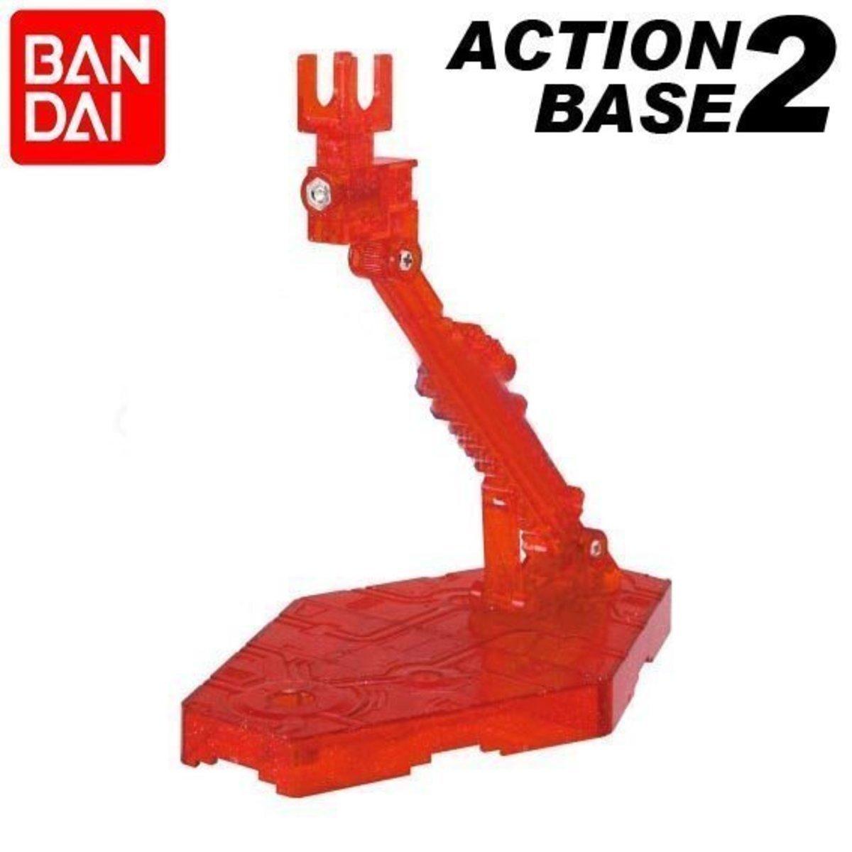 Action Base  2 高達模型  可動 展示架 支架:透明紅色