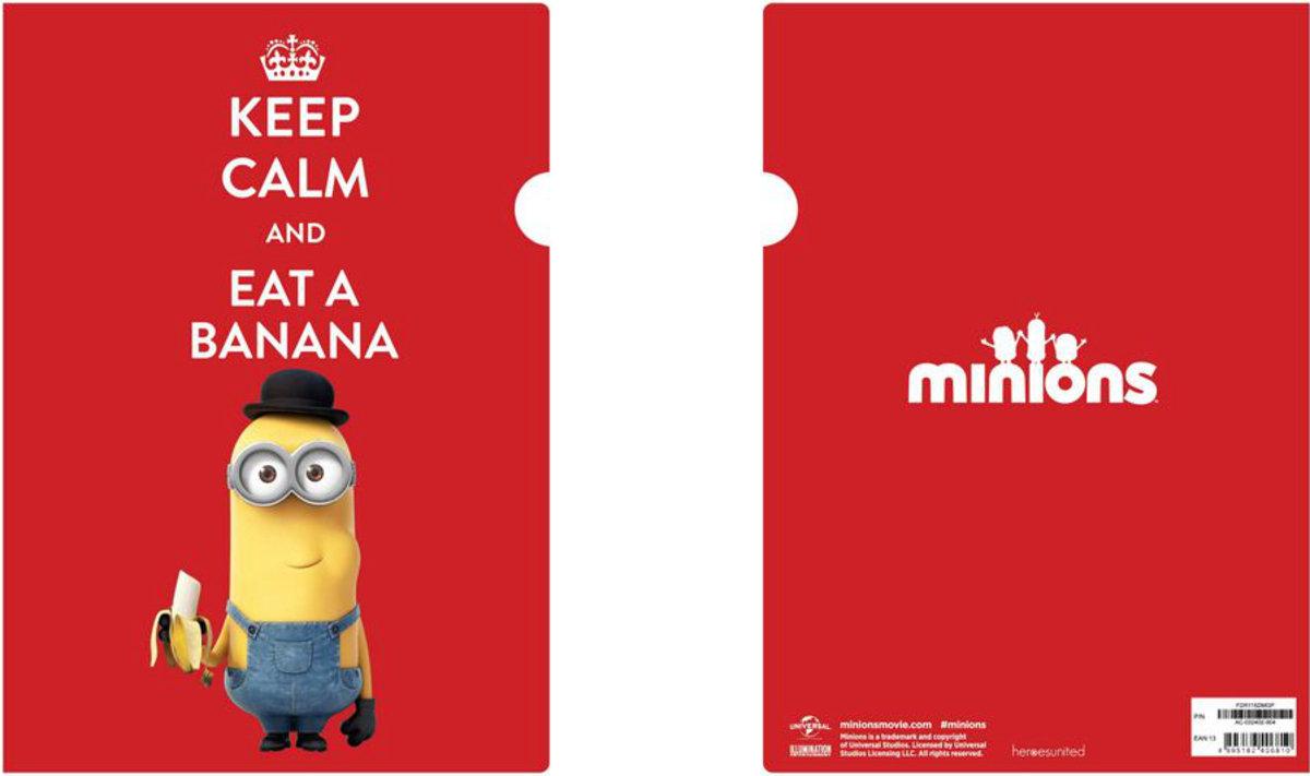迷你兵團 A4 膠文件夾- Keep Calm & Eat A Banana (紅)