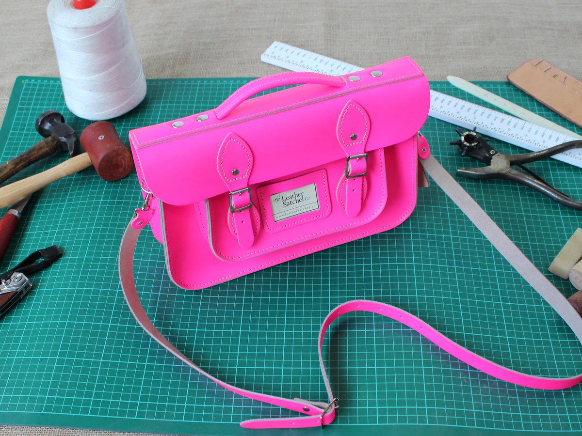 12.5 inch Satchel Briefcase- Dayglow Pink