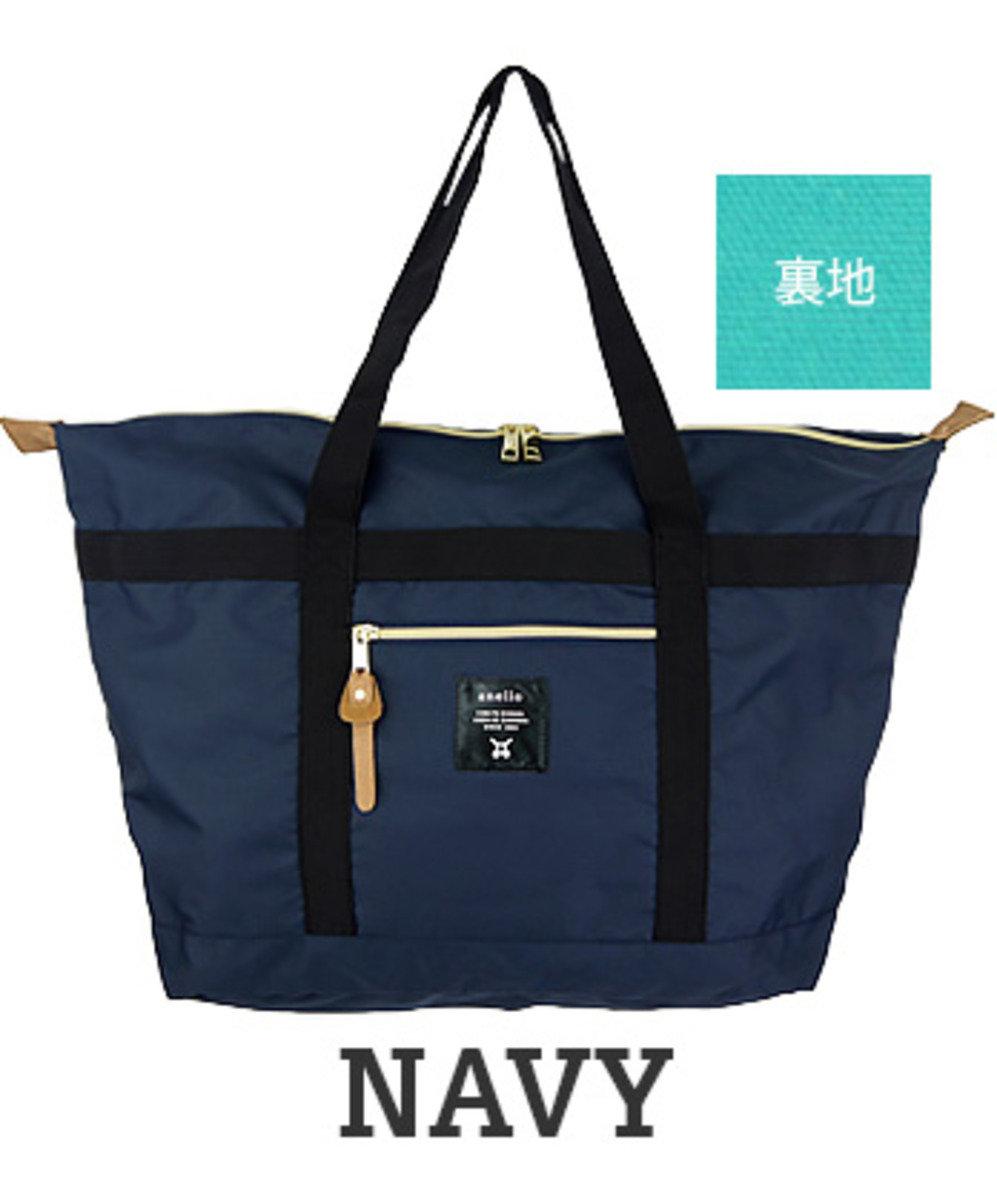 輕量帆布肩揹大袋 AT-B0196A-NV-藍色