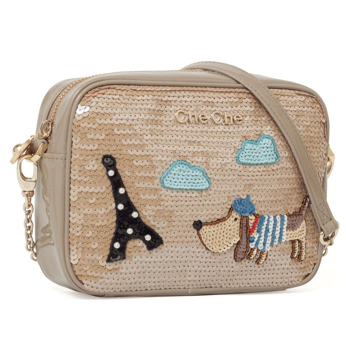 可愛小狗遊巴黎手工釘珠片斜孭袋