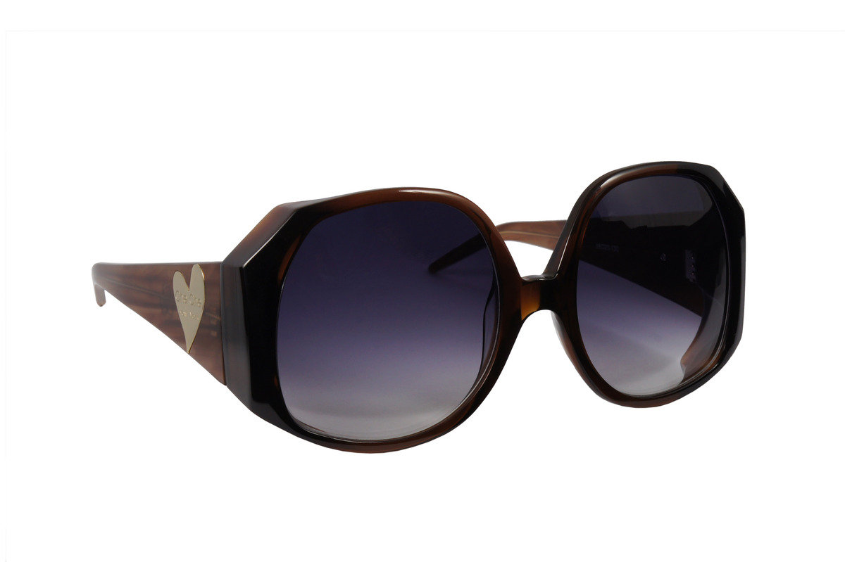 棕色暗紋大框女裝太陽鏡