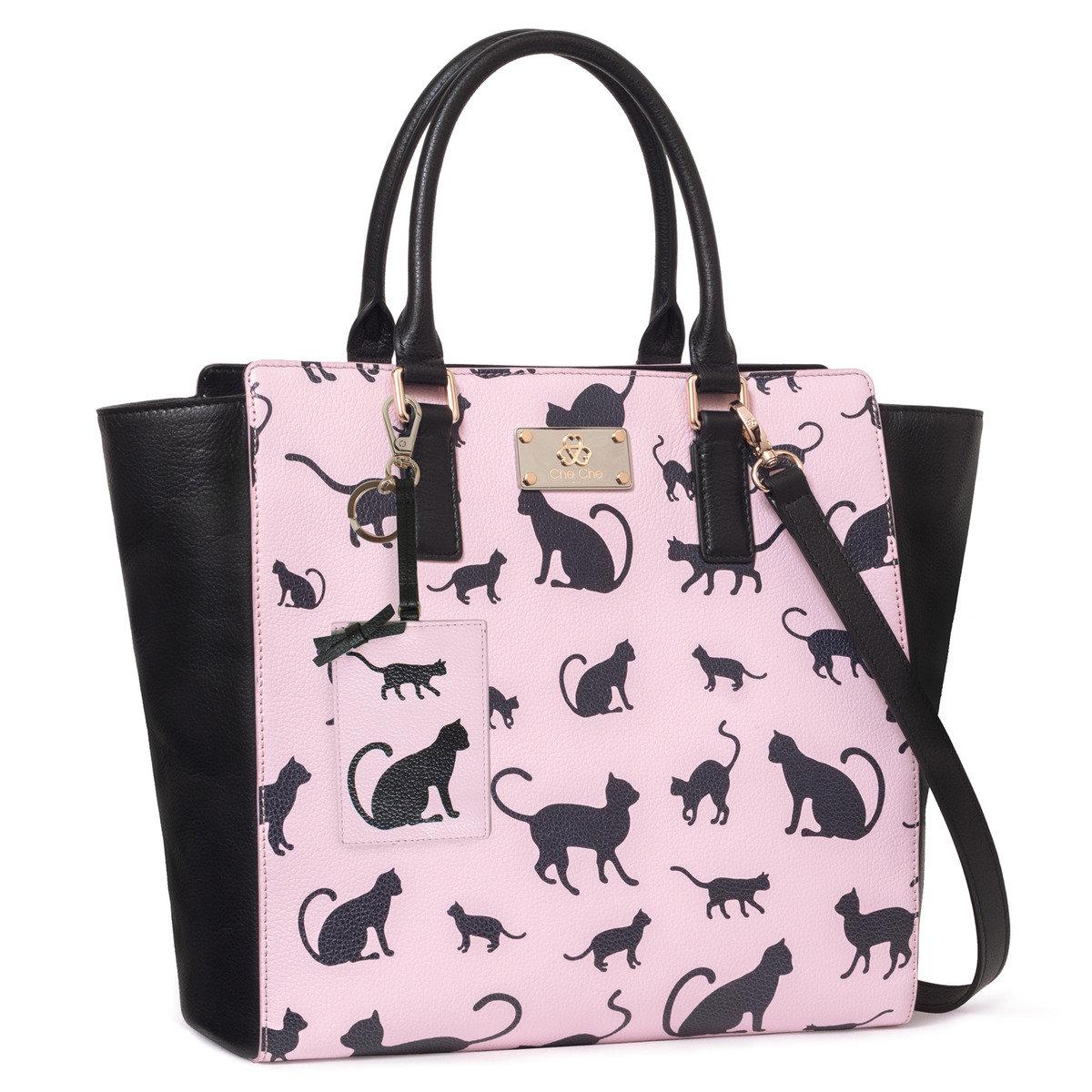 時尚貓剪影印花牛皮手提袋