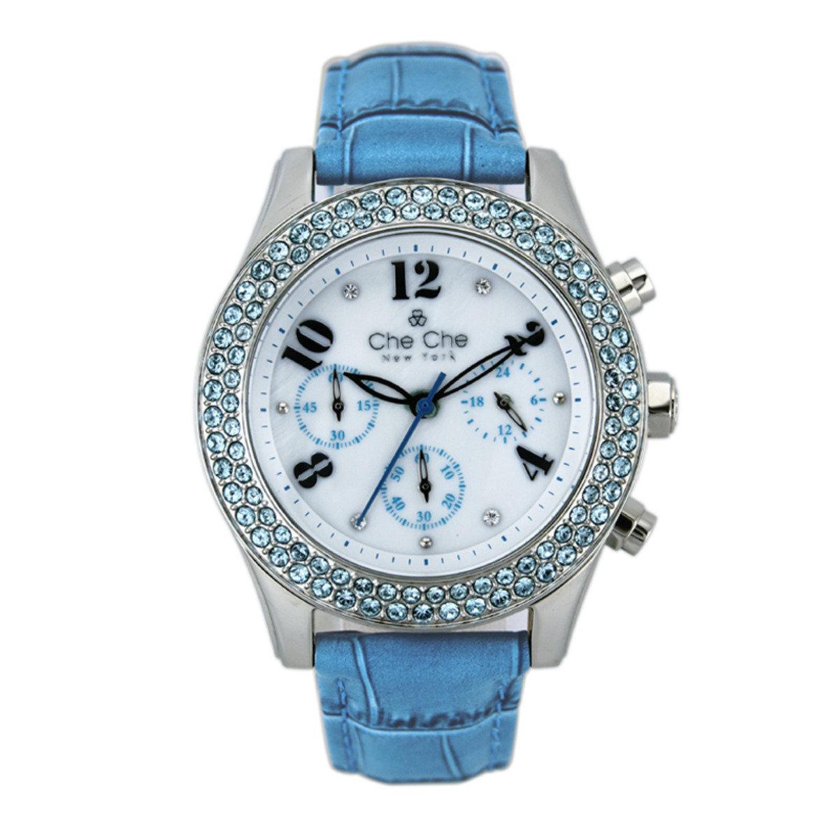 圓形水晶皮帶手腕錶