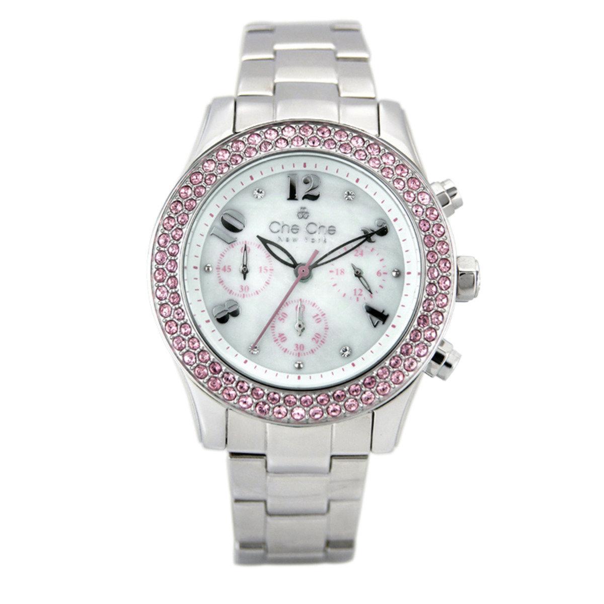 圓形水晶金屬鋼帶手腕錶