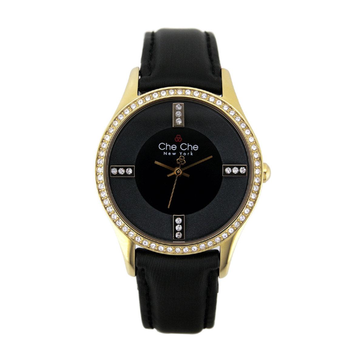 高雅閃鑽皮帶手腕錶