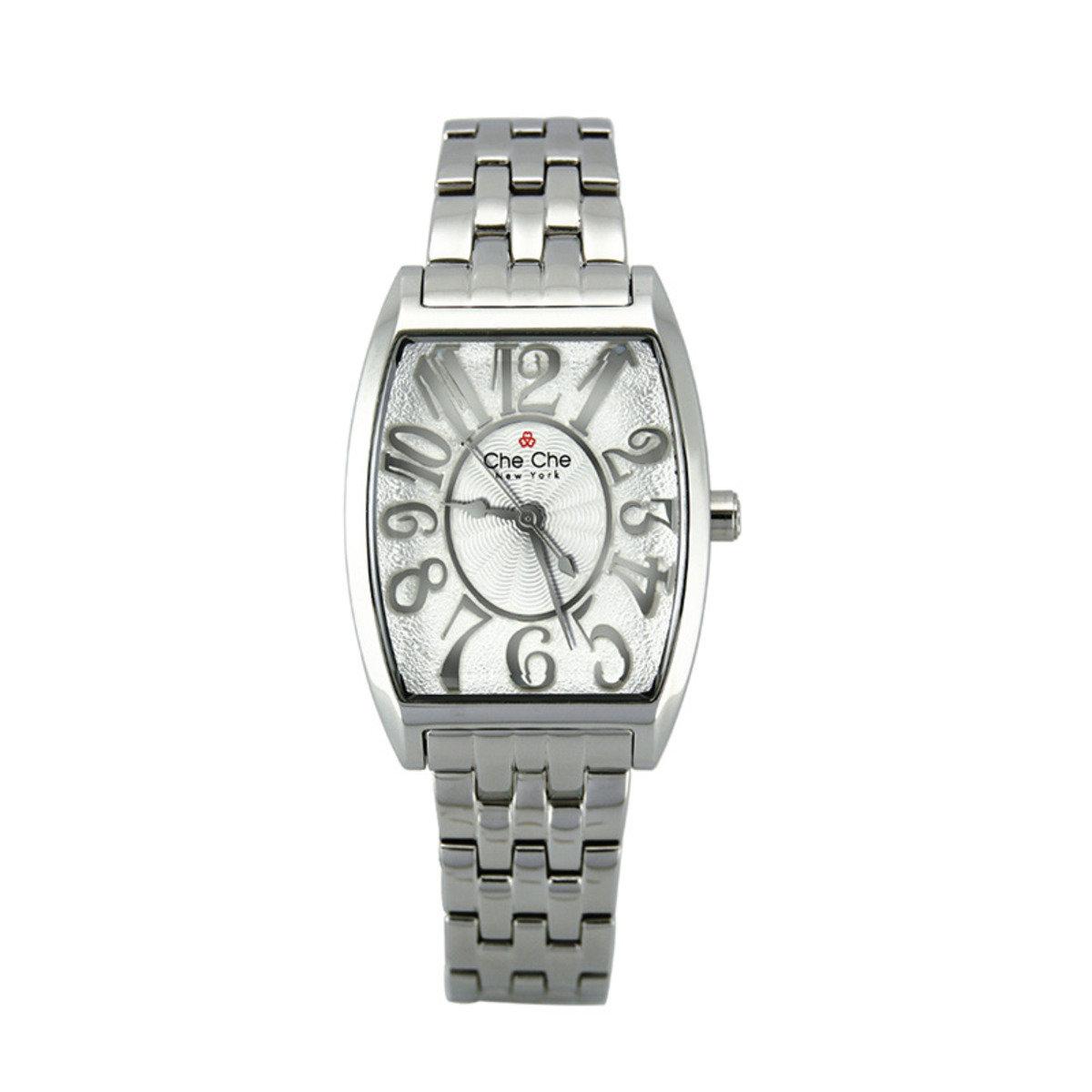 優雅弧形金屬鋼手腕錶