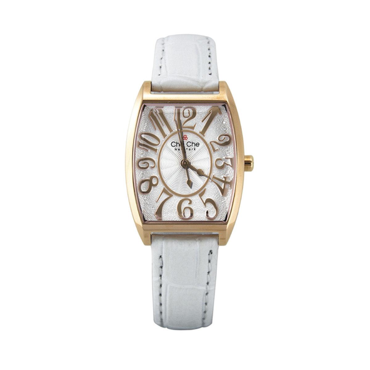 優雅弧形皮帶手腕錶