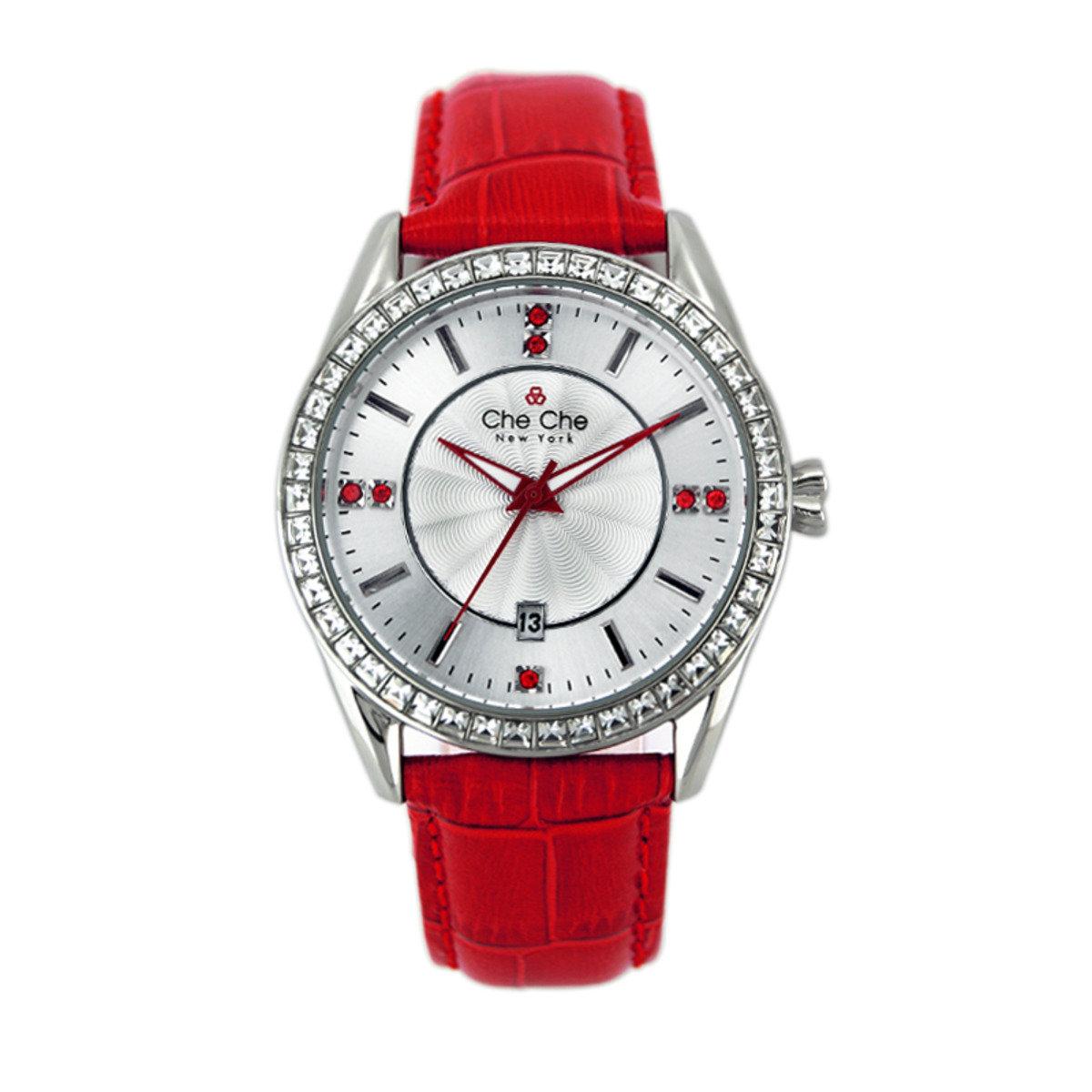 別緻閃鑽皮帶手腕錶