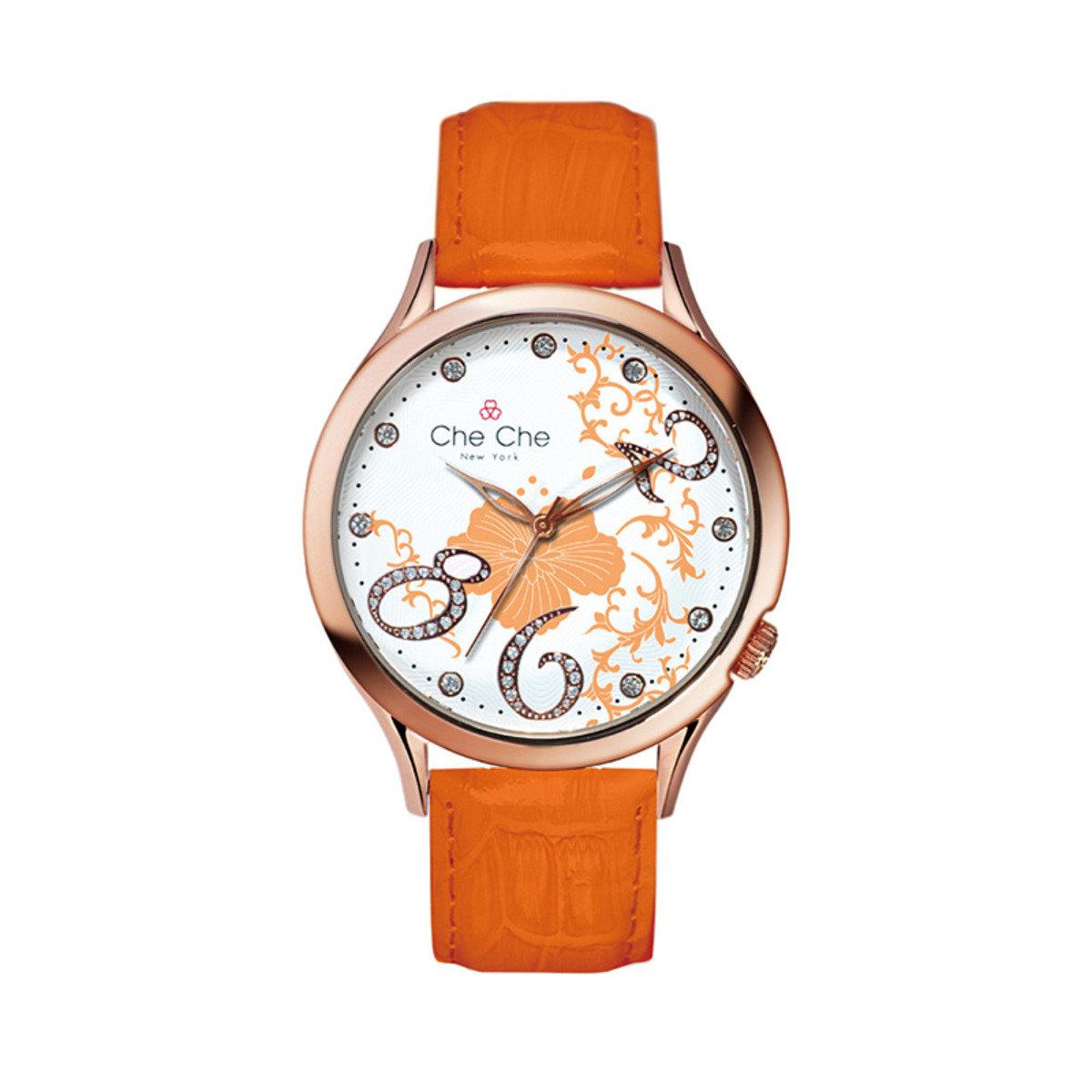 浪漫花飾皮帶手腕錶