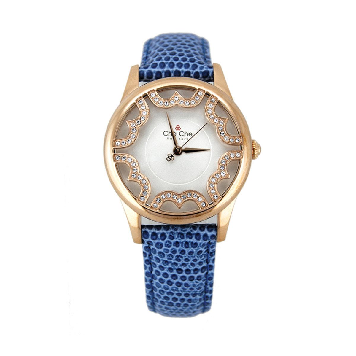 華美玫瑰金皮帶手腕錶