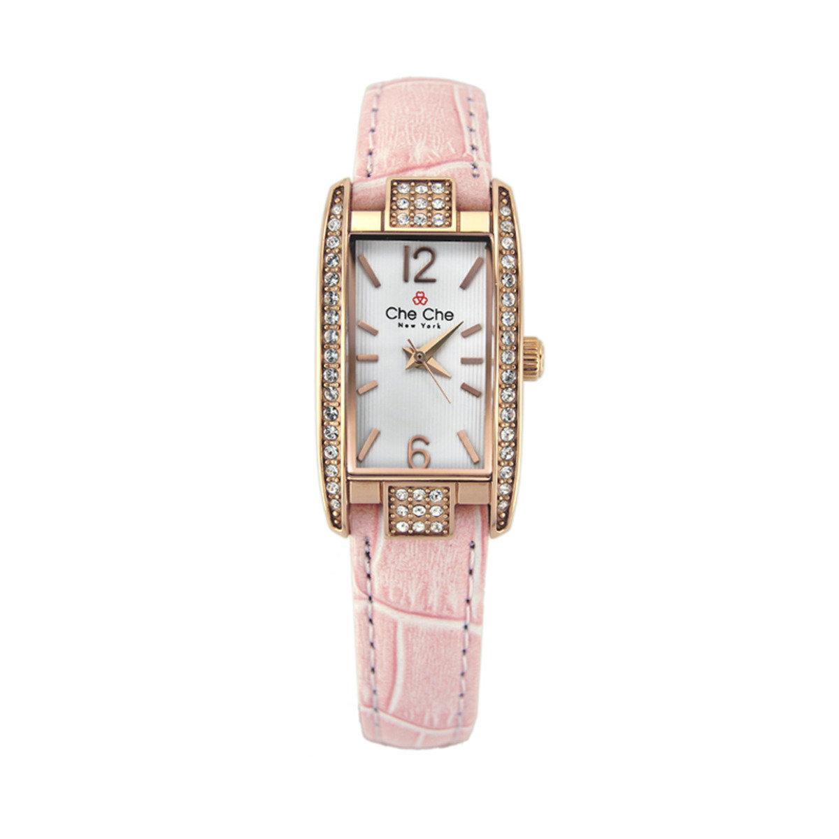 長形閃鑽皮帶手腕錶