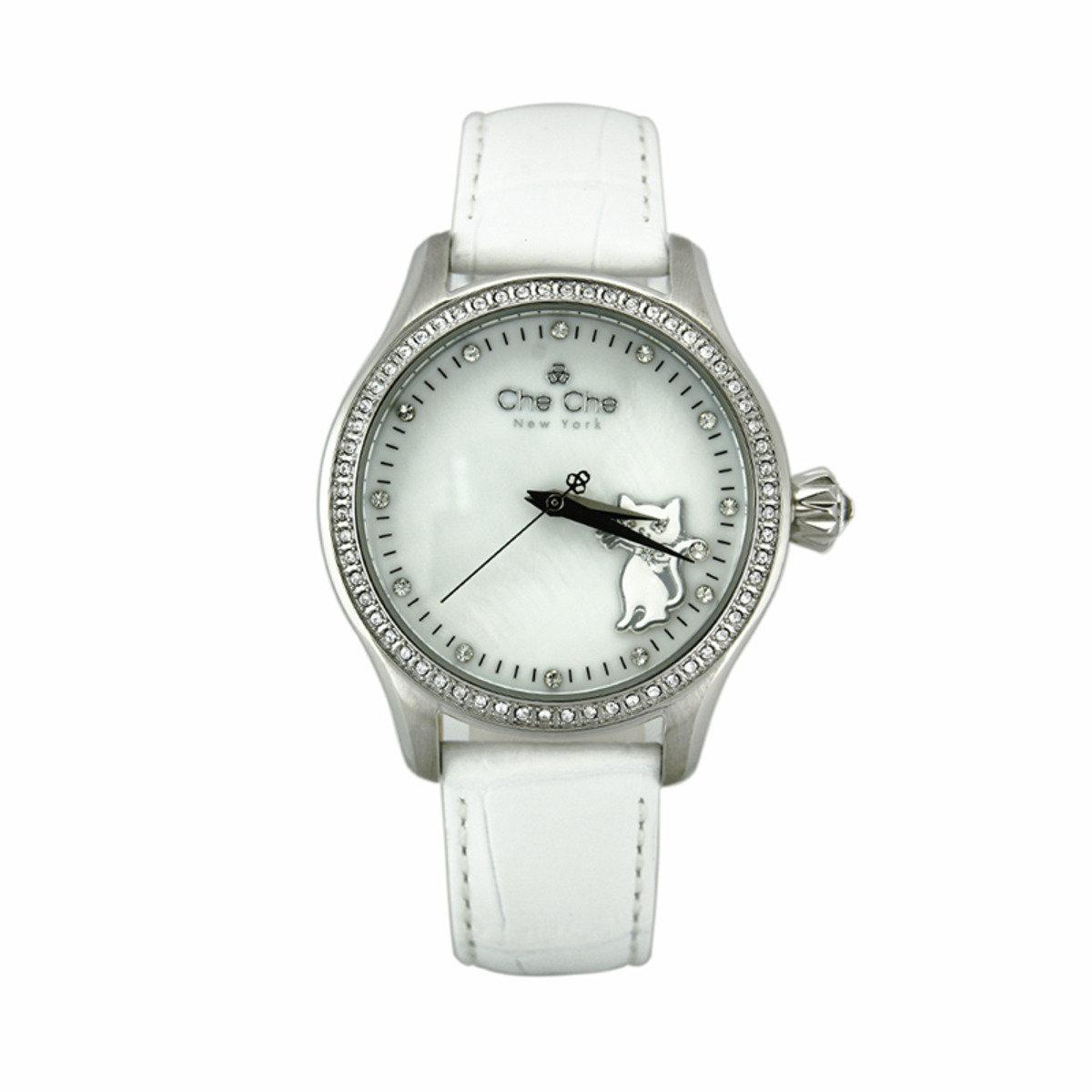 小貓浮雕皮帶手腕錶