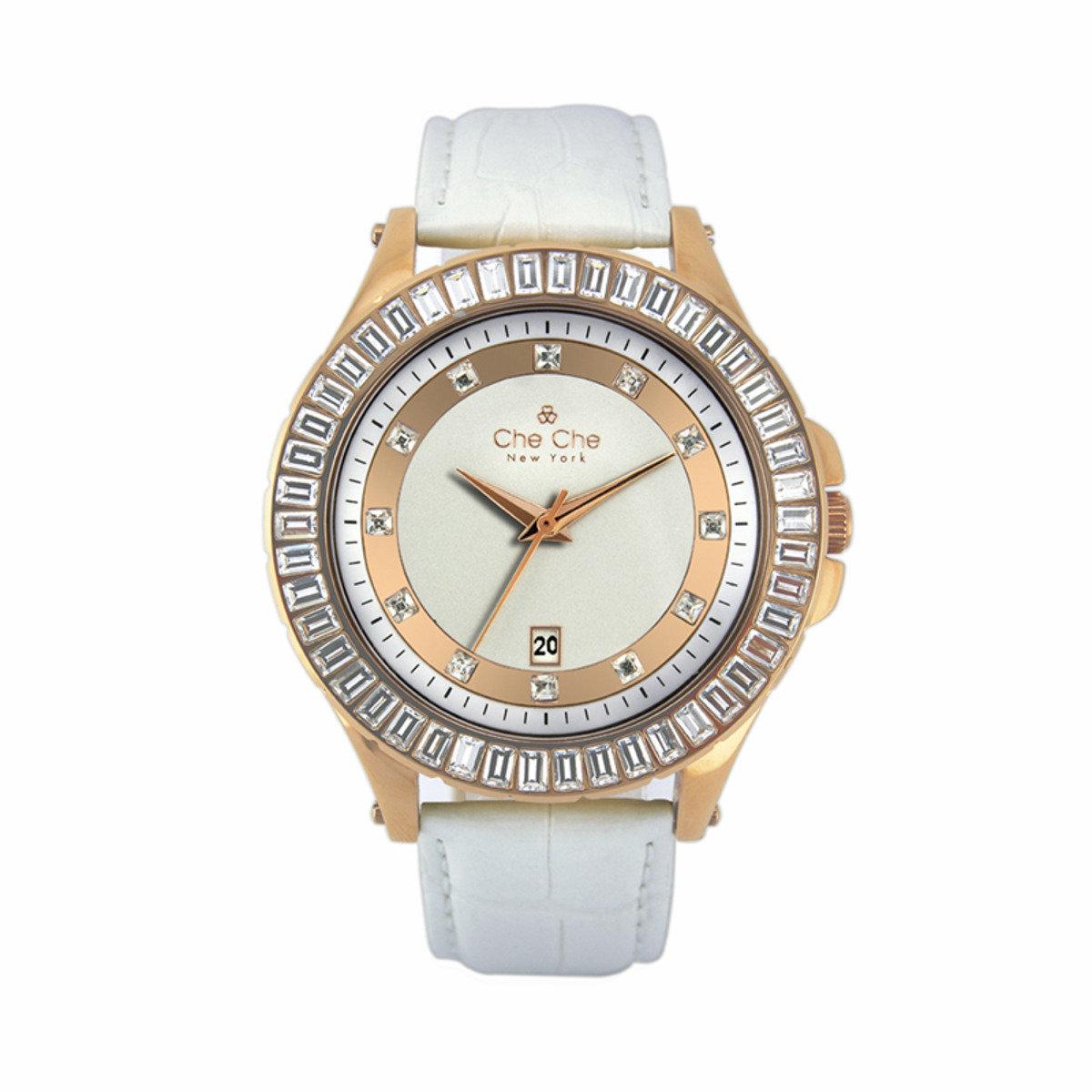 時尚水晶純鋼表圈手腕錶