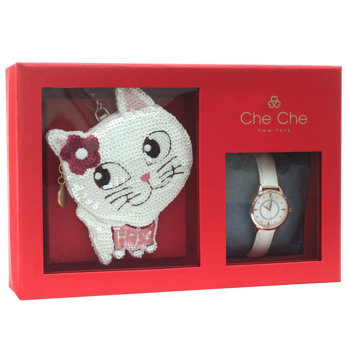 手腕錶+釘珠片小貓零錢包禮盒